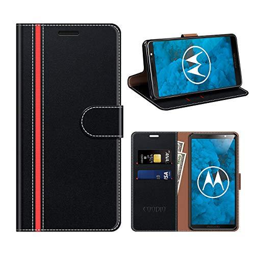 coodio Motorola Moto G6 Plus Hülle Leder, Moto G6 Plus Kapphülle Tasche Leder Flip Cover Schutzhülle Rugged für Motorola Moto G6 Plus Handyhülle, Schwarz/Rot