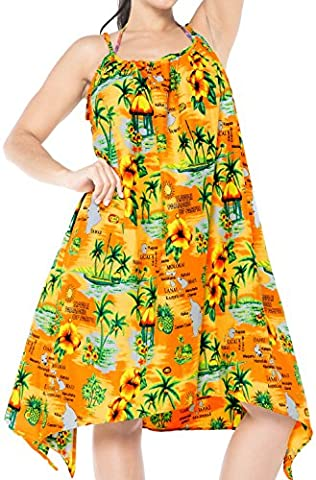 La Leela Bikini der Frauen Strand bedecken Tunika swimwear Kaftan Kleid Orange Spitze nach oben