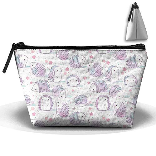 Hedgehog Pastel Print Makeup Bag Travel Cosmetic Pouch Storage Brush Holder Toiletries Bag Jewelry Organizer with Zipper for Women&Girls -