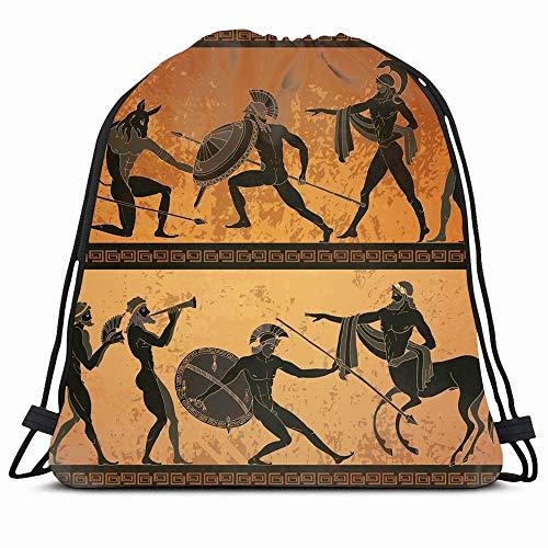 DHNKW Drawstring Backpack String Bag 14x16 Ancient Greece Black Amphora Figure Pottery People Greek Rome Gladiator Europe Pattern Vase Centaur History Sport Gym Sackpack Hiking Yoga Travel Beach