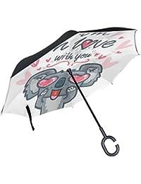ALAZA Koala en diseño de corazones San Valentín paraguas invertido doble capa resistente al viento Reverse