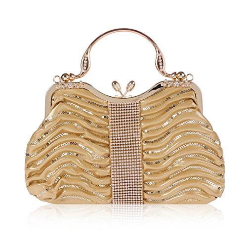 Damara Elegante Pochette Da Donna Con Pochette, Oro Zecchino