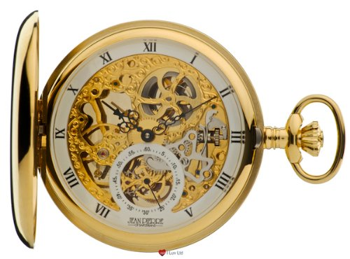 Full Double Hunter Skeleton Pocket Watch 17 Jewelled Mechanical Gold Plated Case