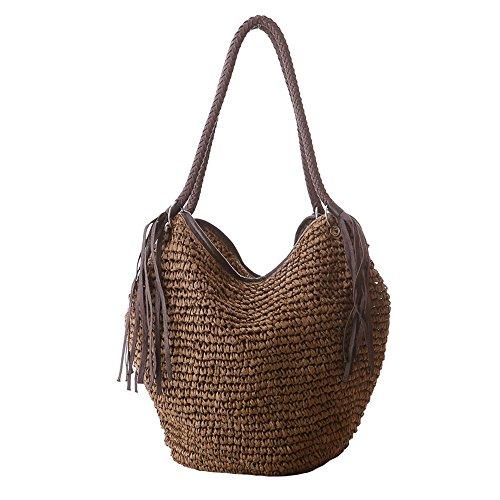 Frauen Stroh Umhängetasche Sommer Strand Tasche Quasten Tote Tasche Baumwolle Futter Oben Griff Hobo Shopper Handtasche Eimer Tasche (Stroh-strand-tote)