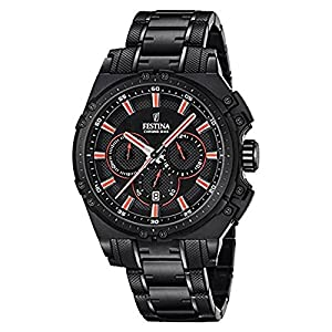 Festina CHRONO BIKE 2016 Men's Quartz Watch with Black Dial Chronograph Display and Black Stainless Steel Plated Bracelet F16969/4