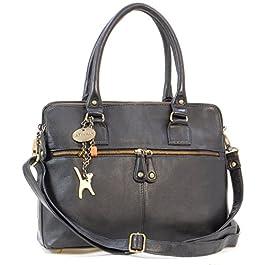 Catwalk Collection Handbags – Vera Pelle – Grande Borsa a Tracolla/Borse a Mano/Spalla/Messenger/Tote/Tracolla Regolabile e Rimovibile – Con Ciondolo a Forma di Gatto – Victoria