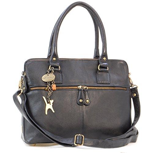 Catwalk Collection Handbags - Leder - Große Schultertragetasche/Umhängetasche/Shopper/Tote - Handtasche mit Schultergurt - VICTORIA - Schwarz -