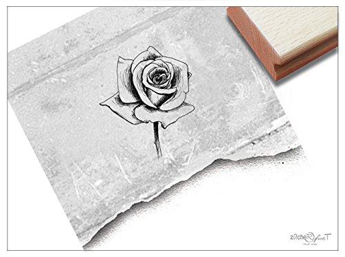 Stempel - FL17 17 - Motivstempel - Blume Romantische Rose - Kupferstich Bildstempel für Scrapbook Artjournal Kunst Hobby Deko - zAcheR-fineT (Klein ca. 25 x 30 mm)