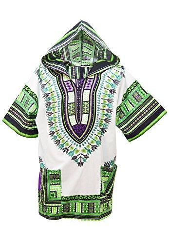 Lofbaz Unisex Dashiki Tradizionale Africana Hippy Boho Design #1 Bianca e Verde M