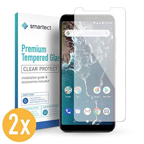 smartect Panzerglas für Xiaomi Mi A2 [2 Stück] - Bildschirmschutz mit 9H Härte - Blasenfreie Schutzfolie - Anti Fingerprint Panzerglasfolie