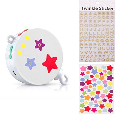 Preisvergleich Produktbild MYTK neue, verbesserte Version der elektrischen, batteriebetriebenen Spieluhr mit Micro-SD-Karten-Slot für Baby-Mobiles inklusive 128 MB Micro-SD-Karte mit 12 Melodien. Erweiterbar bis 2 GB (Spieluhr+Letter Stickers+Star Stickers)
