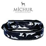 MICHUR Alfredo Hundehalsband, Lederhalsband, Halsband, Schwarz/Silber, LEDER, mit gestanzten Blumenmuster und Strassstein, in verschiedenen Größen erhältlich
