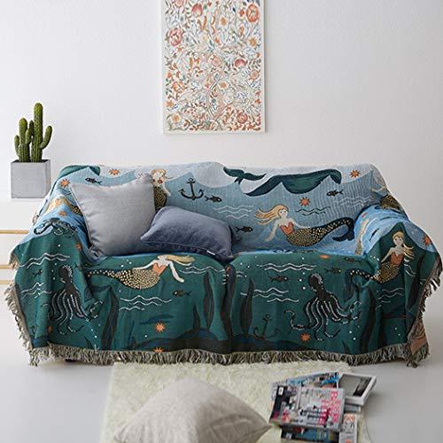 BINGMAX Gewebte Überwurfdecke Sofa-Stuhl-Abdeckung Steppdecke Kuscheldecke Sofaüberwurf Tagesdecke Wolldecke Wohndecke Sofa Bett Decke Meerjungfrau Muster 160 * 260