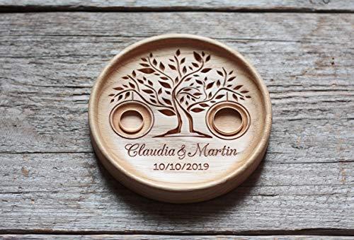 Zeit Duft (Ringschale aus Holz mit gravierten Namen und Datum, Ringkissen Hochzeit, Ringträger für die Hochzeit, Hochzeitsgeschenk, Baum des Lebens, Tree of Life.)