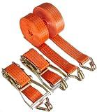 Braun 2000-2-800+4030/VE2 Spanngurt 4000 daN, zweiteilig, Farbe orange, 7,5 m Länge, 50 mm Bandbreite, mit Ratsche und Spitzhaken