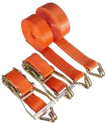 Braun 2000-2-800+4030/VE2 Spanngurt 4000 daN, zweiteilig, Farbe orange, 8 m Länge, 50 mm Bandbreite, mit Ratsche und Spitzhaken