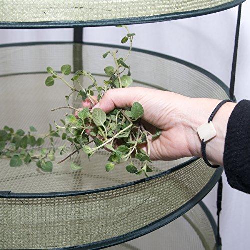 Mixtitude 4-fächriger Kräutertrockner zum Aufhängen für drinnen, wird mit Pflanztasche und Aufbewahrungstasche mit Reißverschluss geliefert — Größe des Regals: 55 x 77 cm — Tragfähigkeit bis zu 3 kg (Reißverschluss-abschnitte Zwei)