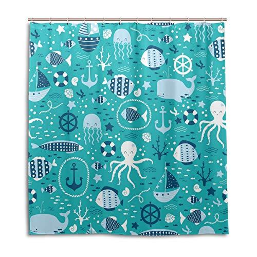 CPYang Duschvorhänge Octopus Hai Quallen Anker Wasserdicht Schimmelresistent Badevorhang Badezimmer Home Decor 168 x 182 cm mit 12 Haken (Kunststoff-octopus Schimmel)