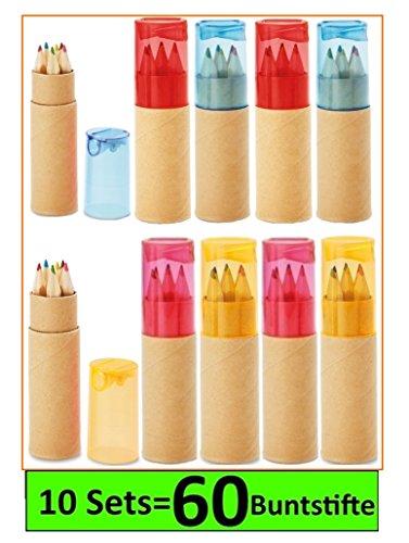 Libetui 10 Buntstifte Sets mit Spitzer für Kinderparty Geburtstag Hochzeit Restaurant als Mitgebsel Kindergeschenk Gastgeschenke - 6 fröhliche Farben (Mehrfarbig)
