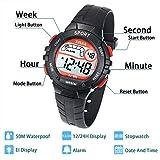 Kinder Digitaluhr für Jungen Mädchen Armbanduhr Sport 50M (5ATM) Wasserdichte LED Multifunktions Mädchen Armbanduhr mit Alarm für Jungen,Mädchen,Kinder,Studenten(Schwarz)