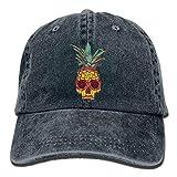 Unisex Adult Pineapple Skull Washed Denim Cotton Sport Outdoor Baseball Hat Adjustable One Size