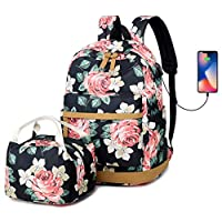 "Floral Teen Girls High School Bookbag Women College Backpack Set with Lunch Bag Shopping Travel Rucksack 15"" Laptop Bag with USB Charging Port"