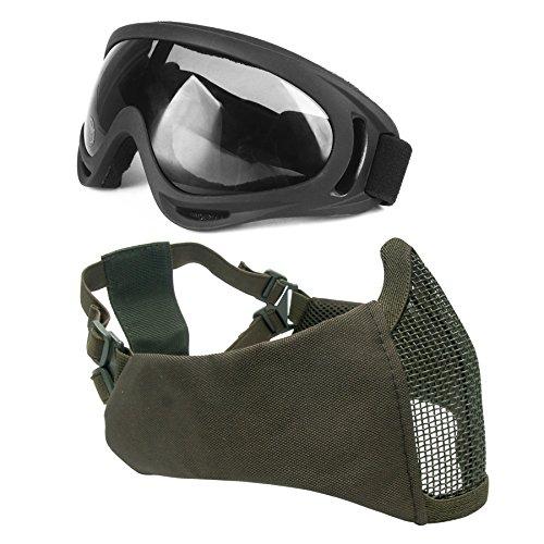 Wwman Juego máscara malla acero protección orejas