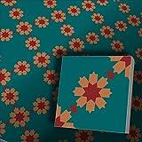 1m² blaue bunte Ornament Zementfliesen Fiona 4011 - Handarbeit