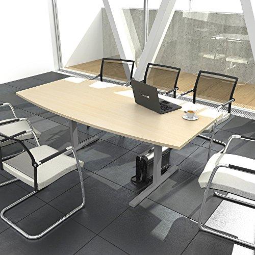 EASY Konferenztisch Bootsform 200x100 cm Ahorn Besprechungstisch Tisch, Gestellfarbe:Silber