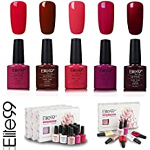 Elite99 Esmalte de Uñas Semipermanente Uñas de Gel UV LED Kit de Manicura 5pcs en Caja Pintauñas Soak off 7.3ml - Kit 020