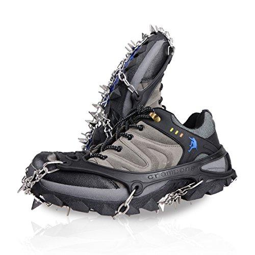 Triwonder Ice Snow Griff über Schuh/Stiefel Traktion Keil Gummi Spikes Gleitschutz Schuhe Traktion rutschfeste Spikes Steigeisen, schwarz … (Schwarz, M (W 5,5-8,5 / M 5-7)) (Auf Ziehen Schnee Stiefel Winter)
