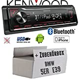 BMW 5er E39 - Autoradio Radio Kenwood KMM-BT204 - Bluetooth | MP3 | USB | iPhone - Android - Einbauzubehör - Einbauset