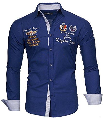 Kayhan Monaco Camicia da Uomo Maniche Lunghe Slim Fit Taglie S 6XL Blu Scuro XXXXL