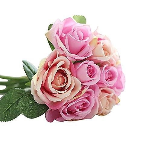 Künstliche Rose Bouquet, tianranrt 9Köpfe Künstliche Seide Fake Blumen Blatt Rose Hochzeit Floral Decor Bouquet rose