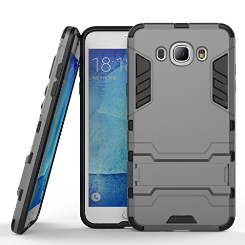 Chevron Rugged Terrain Armor Protective Shockproof Kick Stand Back Cover Case for Samsung Galaxy J7 - 6 (New 2016 Edition) (Grey)