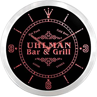 ncu46019-r UHLMAN Family Name Bar & Grill Cold Beer Neon Sign LED Wall Clock