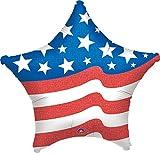 1 Stück 'USA Flying Colours'-Folien-Sternballon, ca. 45 cm Durchmesser, ohne LOLLIPOP®-Gasfüllung, verschiedene Designs