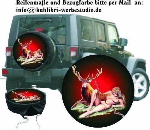 Bezug Reserverad Abdeckung Wildmotiv Diana Göttin der Jagd für Jagd - Fans für Ihren Jeep (Jeep Reserverad Abdeckung Jagd)