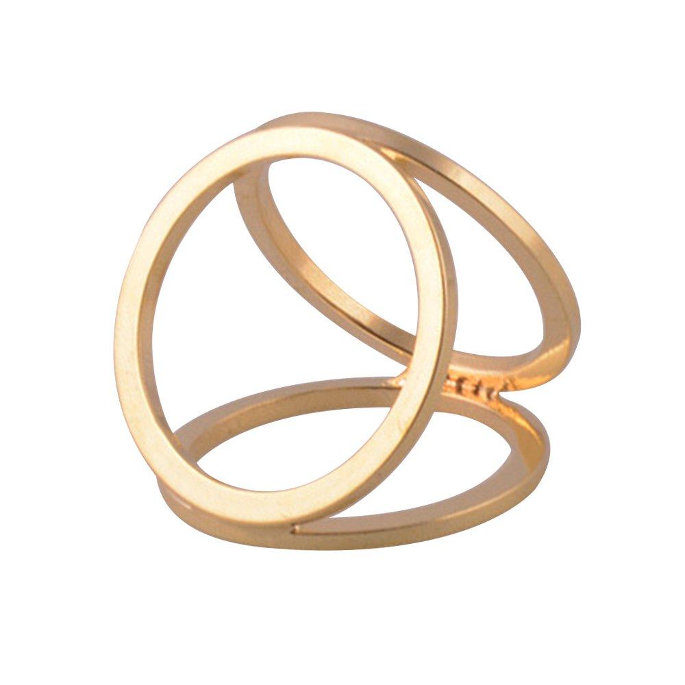 Gemini _ Mall semplice tono argento 3anelli stile seta sciarpa clip fibbia sciarpa ad anello oro Go