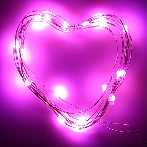 ODJOY-FAN 2M 20LED Zeichenfolge Licht Taste Zelle Angetrieben Silber Kupfer Draht Mini Fee Zeichenfolge Beleuchtung Kupferkabel Lichterketten String Light LED Licht (Rosa,1 PC)