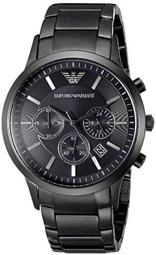 Reloj Emporio Armani de cuarzo con esfera negra y cronógrafo de acero inoxidable para hombre, referencia AR2453