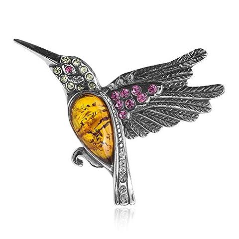 Amber Sterling Silver Crystal Humming Bird Slider Pendant