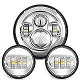 Sunpie 7-Zoll-Chrom Harley Daymaker LED-Scheinwerfer 2x4-1 / 2