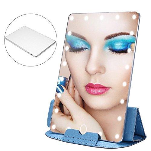 Schminkspiegel mit LED Beleuchtung, Luxuriös Einstellbare Licht Smart Touch Einstellungen USB Wiederaufladbare Reise Make up Spiegel Mit Schutzleder Fall für Kosmetik Unterwegs 20 x 13.5 cm (Silber) -