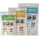 HOKIPO® Reusable Clear Transparent Zip Lock Bags with Write On Panels - Value Pack - 5 Large + 6 Medium + 8 Small
