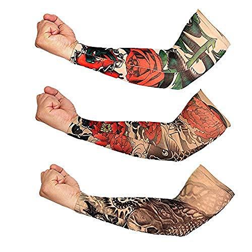 ELECTION Tattoo Ärmel Arm Tattoo Strumpf Abnehmbare Body Art Arm Gefälschte Tattoo Ärmel Nylon Tattoo Arm Tätowierung Armstulpen-Kit Arm Sonnenschutz Strümpfe Zubehör Für Unisex (H)