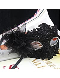 Fashion Lily Flower Crystal Rhinestones Decor Venetian Lace Face Mask for Halloween /Masquerade /Costume Party