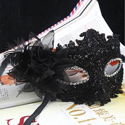 Fashion Lily Flower Crystal Strasssteinen Decor Venetian Lace Face Mask for Halloween/Masquerade/Kostüm Party (Masque Venitien Kostüm)