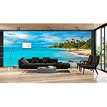 Fotomural Vinilo Pared Paisaje Playa Palmeras | Fotomurales pared | Fotomural Decorativo | Mural | Vinilo Decorativo | Varias Medidas 200 x 150 cm | Decoración comedores salones | Motivos Paisajisticos