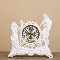 Retro resina di stile europeo modo che si siede orologio creativo decorazioni domestiche muto Orologio a pendolo ( colore : Bianca )